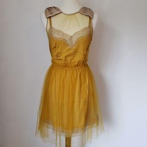 Rodarte for Target mustard tulle slip dress bows M